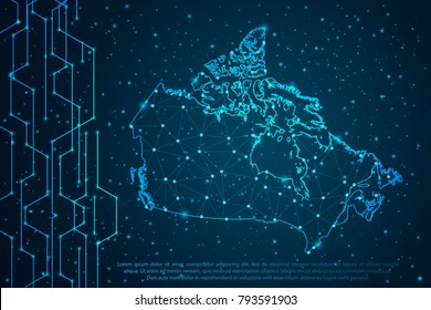 Abstract mash line and point scales on Circuit dark background with map of Canada. Wire frame 3D mesh polygonal network line, design sphere, dot and structure. Vector illustration eps 10.