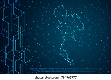 Abstract mash line and point scales on Circuit dark background with map of Thailand. Wire frame 3D mesh polygonal network line, design sphere, dot and structure. Vector illustration eps 10.