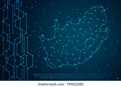 Abstract mash line and point scales on Circuit dark background with map of South Africa. Wire frame 3D mesh polygonal network line, design sphere, dot and structure. Vector illustration eps 10.