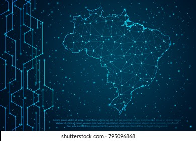 Abstract mash line and point scales on Circuit dark background with map of Brazil. Wire frame mesh polygonal network line, design sphere, dot and structure. Vector illustration eps 10.