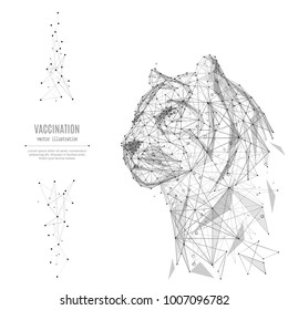 Abstract mash line and point tiger origami on white background with an inscription. Starry sky or space, consisting of stars and the universe. Vector animal wild illustration