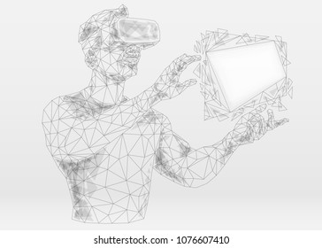 Abstract mash line and point virtual reality on white background with an inscription. Starry sky or space, consisting of stars and the universe. Vector technology illustration