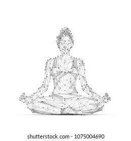 Abstract mash line and point. A woman yogi sits in a lotus pose. origami on white background. Starry sky or space, consisting of stars and the universe. Vector yoga illustration
