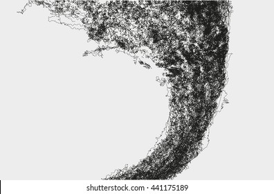 Abstract massive structure made by shuffled round particles. Swarm of dots. Rippled random halftone illustration for backdrop.
