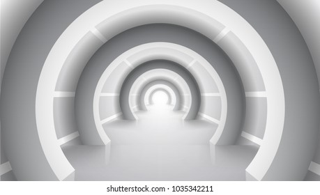 Abstract Massive White Architecture Tunnel. EPS10 Vector