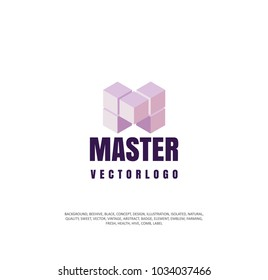abstract master logo, m sign, vector illustration of a specialist