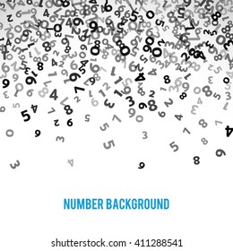 Abstract math number background. Vector illustration for business design. Black white colors. Random sign flying border frame. School sheet. Numeral count concept. Algebra decoration. Report cover