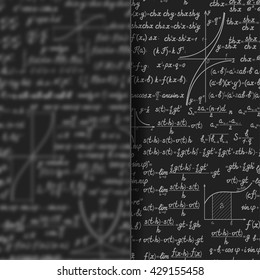 Abstract math vector background behind matt glass banner. Scientific backdrop with formulas, figures with copy space on silky glass board over