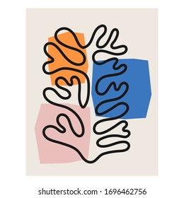 Abstract Matisse inspired contemporary collage with abstract organic shapes in neutral colors, vector illustration