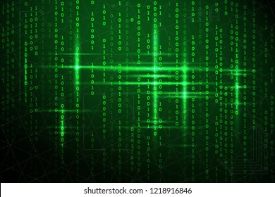 Abstract matrix background. Vector illustration. Virtual design technology. Green glow