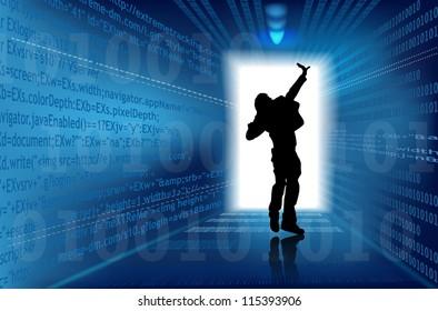 Abstract matrix concept - digital world