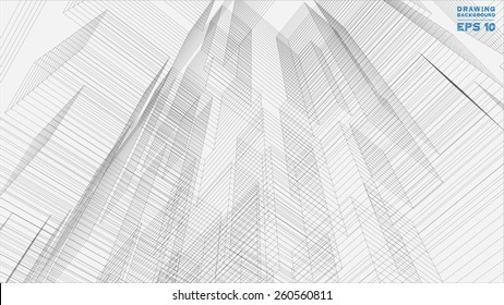 Abstract matrix wireframe of building. Vector illustration.