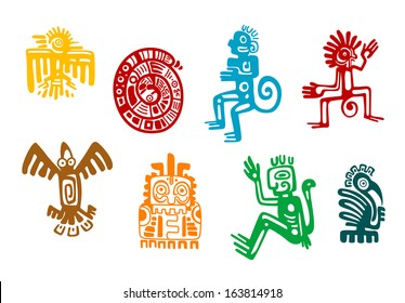 Abstract maya and aztec art symbols isolated on white background