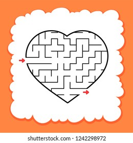 Abstract maze heart. Valentine Day. Game for kids. Puzzle for children. One entrance, one exit. Labyrinth conundrum. Flat vector illustration isolated on white background. Cartoon style.