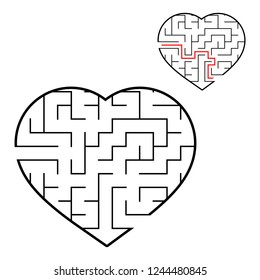 Abstract maze heart. Valentine day. Game for kids. Puzzle for children. One entrance, one exit. Labyrinth conundrum. Flat vector illustration isolated on white background. With answer