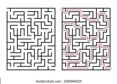 Abstract maze / labyrinth with entry and exit. Vector labyrinth 289.