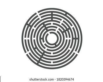 Abstract maze labyrinth with entry and exit. Vector labyrinth EPS 10.Labyrinth for a children's developmental magazine. Black vector silhouette on isolated white background.