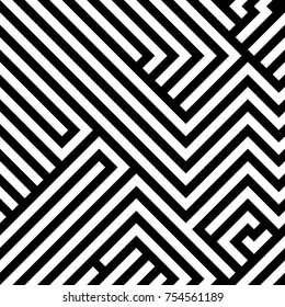 Abstract maze / labyrinth  seamless pattern, black and white lines backdrop