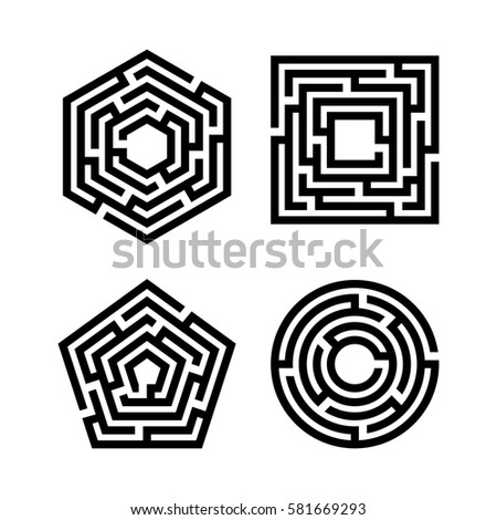 Abstract Maze Set Collection Labyrinths Shapes Stock Vector Royalty