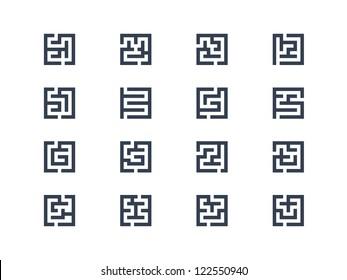 Abstract maze symbols