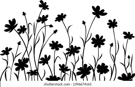 Abstract meadow flowers, border. Black silhouettes.
