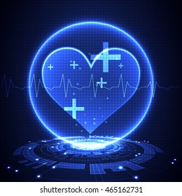 Abstract medical background. Cardiogram theme.