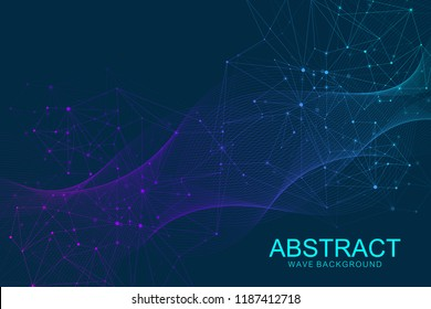 Abstract medical background DNA research, molecule, genetics, genome, DNA chain. Genetic analysis art concept with hexagons, lines, dots. Biotechnology network concept molecule, vector illustration.