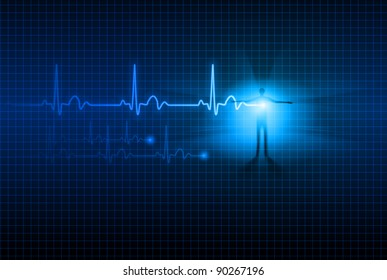 Abstract Medical background. ECG. Illustration for design.
