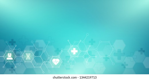 Abstract medical background with flat icons and symbols. Concepts and ideas for healthcare technology, innovation medicine, health, science and research