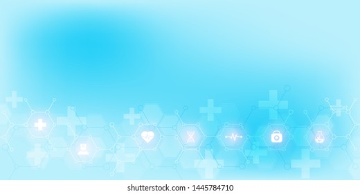 Abstract medical background with flat icons and symbols. Template design with concept and idea for healthcare technology, innovation medicine, health, science and research. Vector illustration