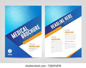 Abstract medical background - flyer or brochure template. Can be used as book cover for any printed or online graphic materials about healthcare and medicine.