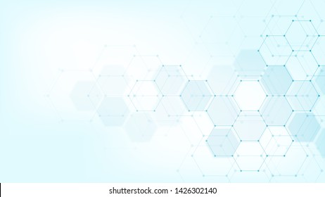 Abstract medical background with hexagons pattern. Concepts and ideas for healthcare technology, innovation medicine, health, science and research