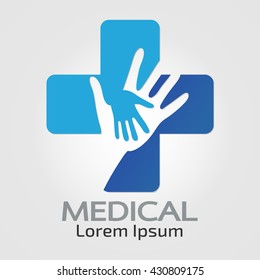 Abstract medical blue Helping hands pharmacy sign symbol.