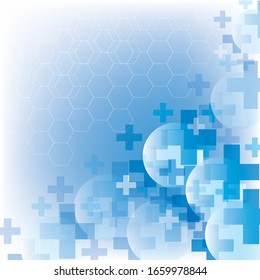 Abstract medical cross shape medicine and science concept on blue background
