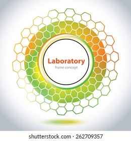 Abstract medical emblem - circle element - orange and green background - Science and Research - laboratory test - chemical formulas - hexagonal grid - stock vector