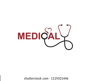 abstract medical halthcare icon with stethoscope and heart