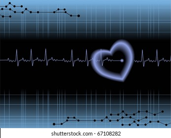 abstract medical heartbeat background, vector illustration