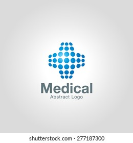 Abstract Medical logo template made of dots. Corporate branding identity