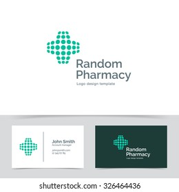 Abstract Medical logo template made of dots. Pharmacy Corporate branding identity