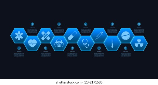 Abstract Medical Sciences infographics icon set and timeline in blue Hexagon Technology template design on black color background