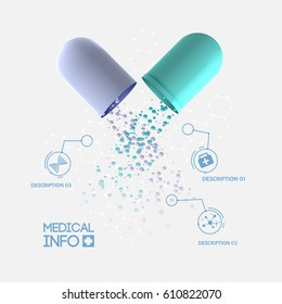 Abstract medicine infographic concept with medical opened capsule pill three options and icons isolated vector illustration