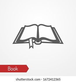 Abstract medieval opened book with bookmark. Old tome isolated icon in silhouette style. Typical ancient or fantastic law or spell book. Vector stock image.