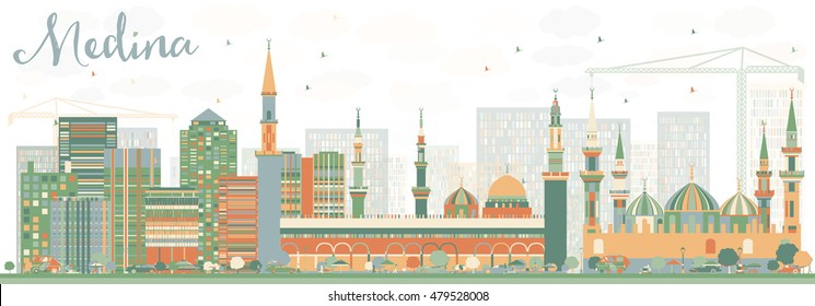 Abstract Medina Skyline with Color Buildings. Vector Illustration. Business Travel and Tourism Concept with Historic Buildings. Image for Presentation Banner Placard and Web Site.