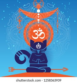 Abstract meditating cat in a yoga lotos pose wit a big mandala and Omm symbol on the background. Buddhism style vector illustration.