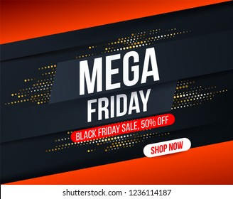 Abstract Mega Friday banner with gold halftone glitter effect for special offers, sales and discounts. Promotion and shopping template for Black Friday 50% off