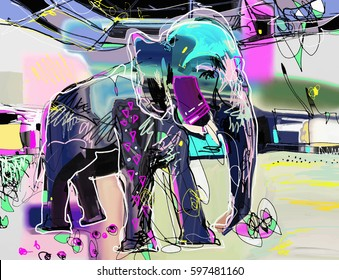 abstract memphis digital painting of indian elephant, vector illustration
