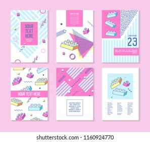 Abstract Memphis Geometric Shapes Placards. 80s 90s Retro Posters, Banners, Covers Design with Blocks. Flyers Cards Templates. Vector illustration