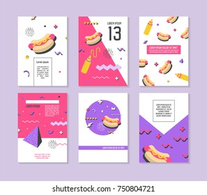 Abstract Memphis Geometric Shapes Placards. 80s 90s Retro Posters, Banners, Covers Design with Fast Food. Flyers Cards Templates. Vector illustration