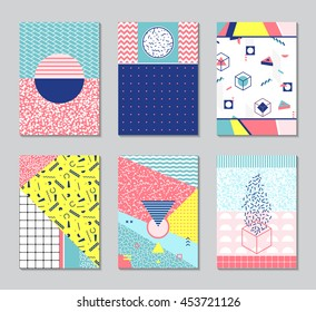 Abstract memphis style cards. Retro texture, pattern and geometric elements.