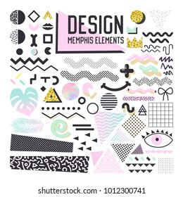 Abstract Memphis Style Design Elements Set. Geometric Shapes Collection for Patterns, Backgrounds, Brochure, Poster, Flyer, Cover. Vector illustration